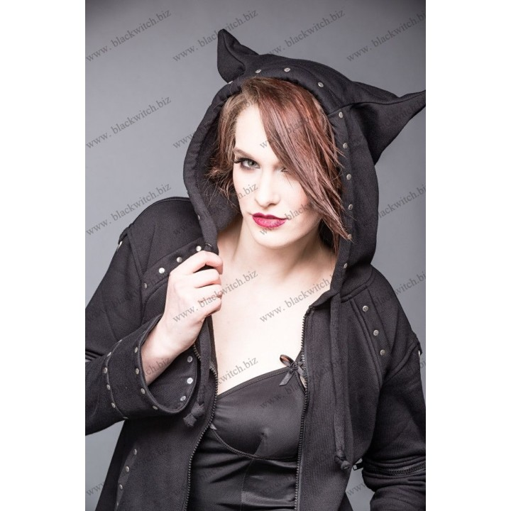 Black jacket with rivets and hood