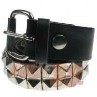38mm 2 Row New Pyramid Leather Belt - Black (305)