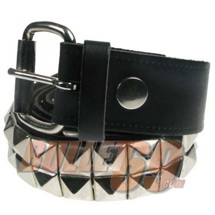 38mm 2 Row New Pyramid Leather Belt - Black (305)