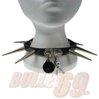 1 Row Large Cone Spike and Padlock Leather Neckband / Leather Chocker - Black