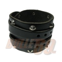 4 ROW WRAP 65MM ROUND WB W/ CONICAL Leather Wristband - Black