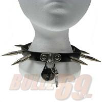 1 Row Large Spike and Padlock Leather Neckband / Leather Chocker - Black