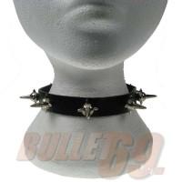 1 Row Mine Spike Leather Neckband / Leather Chocker - Black (26)