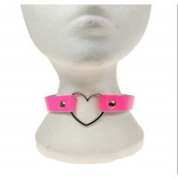 1 Row Heart Fitting Leather Neckband pink