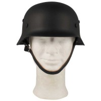 Steel helmet WW II, black, with leather inner part